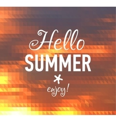 Summer card with sunset back and designed text vector