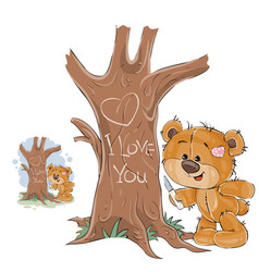 A loving brown teddy bear vector