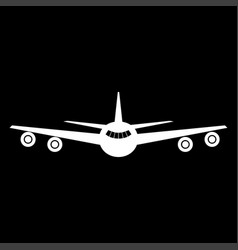 Airplane the white color icon vector