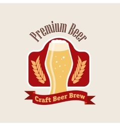 Beer logo flat style emblem isolated on vector