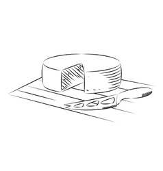 Block of cheese and knife on a white background vector image