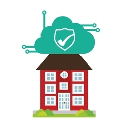 Building home security cloud cyber technology vector