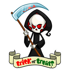 cartoon grim reaper with scythe isolated vector image