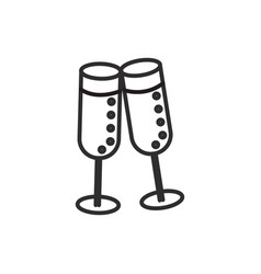 cheerswine glasses line icon sign vector image vector image
