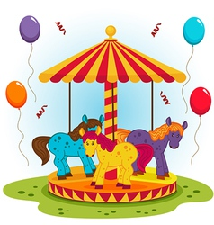 Children carousel with horses vector