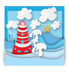 colorful lighthouse in a storm vector image