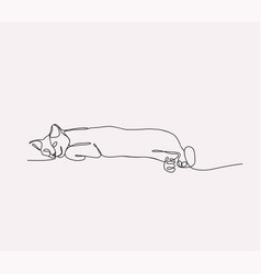 continuous line drawing of cat lying vector image vector image