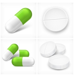 Different pills on white vector