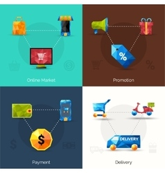 E-commerce polygonal icons vector