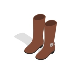 Female brown fashion boots icon isometric 3d style vector
