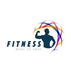 fitness logo design template sport or gym vector image