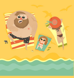 happy family at the seaside vector image vector image
