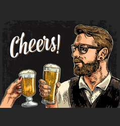 Hipster holding glass of beer and clinking vector