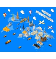 Isometric World Famous Landmarks Map POster vector image