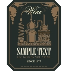 label for wine with wine production vector image vector image