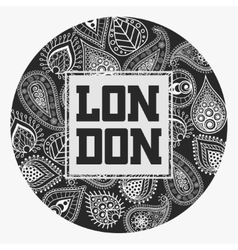 London t-shirt with floral ornament vector