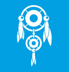 Native american dreamcatcher icon white vector