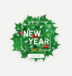 new year sale flyer template with realistic vector image