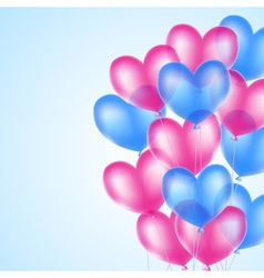 Pink and blue heart balloons vector