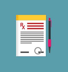 prescription pad medical prescription vector image vector image