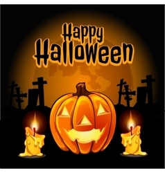Pumpkin and candles to the cemetery on halloween vector