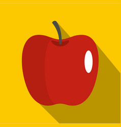 red glossy apple icon flat style vector image