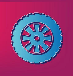 Road tire sign blue 3d printed icon on vector