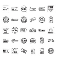 thin line free icon set vector image