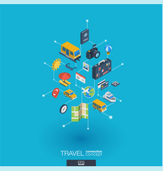 travel integrated 3d web icons digital network vector image vector image