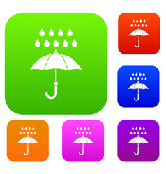 umbrella and rain set collection vector image