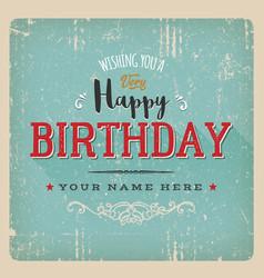vintage retro birthday card vector image