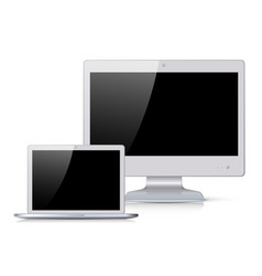 white monitor and notebook with black screen vector image