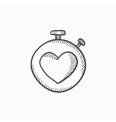 Stopwatch with heart sign sketch icon vector
