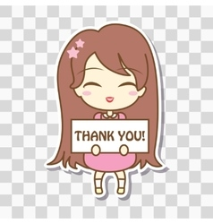 Cute girl holding frame with text vector