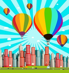 Hot Air Balloons Flat Design with Abstract C vector image