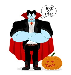 Dracula and pumpkin serious powerful vampire vector