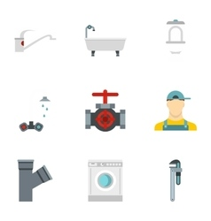 Sanitary appliances icons set flat style vector