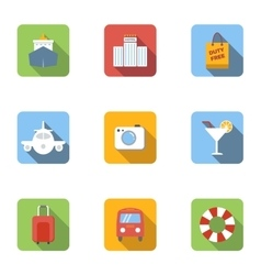 Rest on sea icons set flat style vector