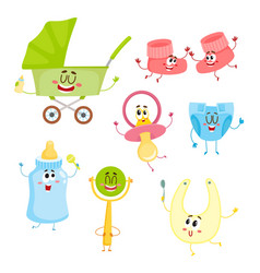 Kid items baby care supply characters with human vector