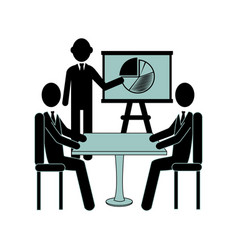 silhouette executive man with graphics in group vector image