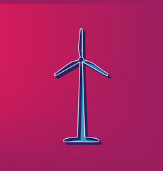 wind turbine logo or sign  blue 3d printed vector image
