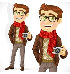 Hipster guy wearing a scarf and with a camera vector
