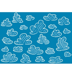 Hand drawn clouds on blue background vector