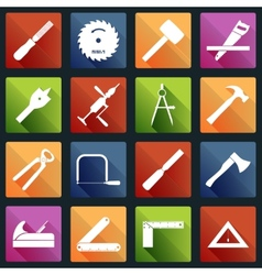 Carpentry tools icons white vector