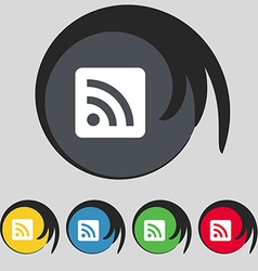Rss feed icon sign symbol on five colored buttons vector
