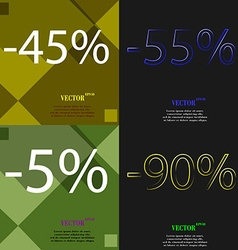 55 5 90 icon set of percent discount on abstract vector
