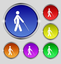 Blind icon sign round symbol on bright colourful vector