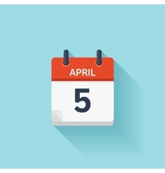 April 5 flat daily calendar icon date and vector