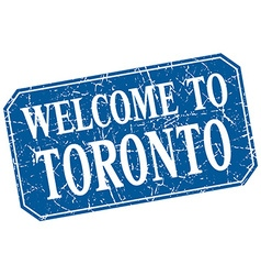 Welcome to toronto blue square grunge stamp vector