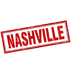Nashville red square grunge stamp on white vector